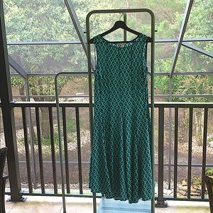 Turquoise Dress with Geometric Pattern
